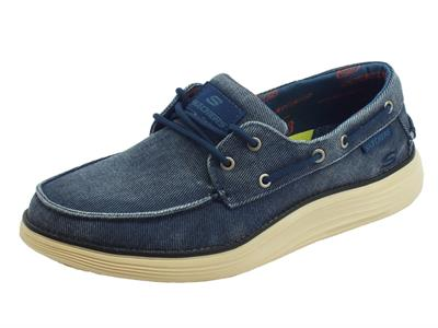 Skechers Classic FIT Status 2.0 Mosent scarpe uomo in tessuto blu