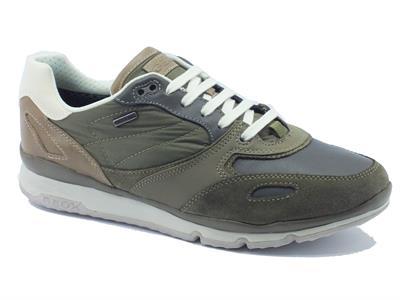 Sneakers Geox per uomo in pelle e tessuto nero