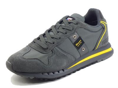 Articolo Blauer Quartz Dark Grey Sneakers sportive per uomo in pelle e tessuto
