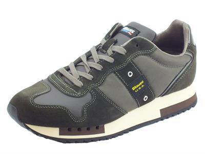 Articolo Blauer Queens01 Dkb Dark Brown scarpe sportive per uomo in tessuto e camoscio verde