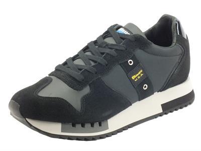 Articolo Blauer USA F1Queens Black Sneakers Sportive per Uomo in nabuk e tessuto tecnico