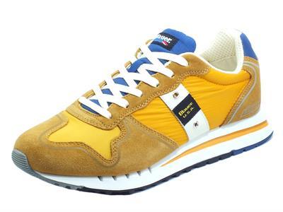 Articolo Blauer USA Quartz01 Ochre Sneakers sportive per Uomo in camoscio e tessuto