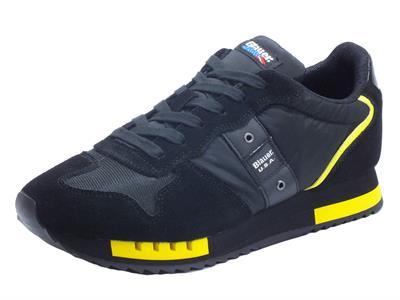 Articolo Blauer USA Queens 01 Black Scarpe Sportive per uomo in nabuk e tessuto nero e giallo