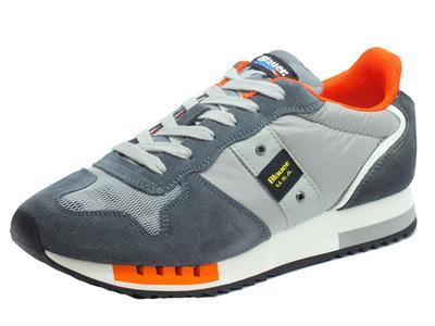 Articolo Blauer USA Queens 01 Grey Scarpe Sportive per uomo in nabuk e tessuto grigio e arancio