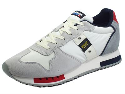Articolo Blauer USA Queens01 Wrn White Red Navy Sneakers sportive per Uomo in camoscio e tessuto