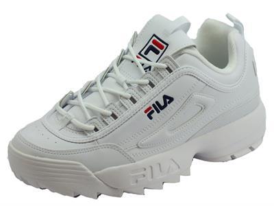 Articolo Fila 1010262.1FG Distruptor Low White Scarpe sportive per uomo in ecopelle bianca