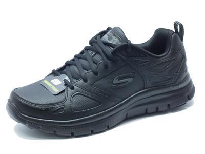 Articolo Scarpe Skechers Sport per uomo in pelle e sintetico nero con memory foam