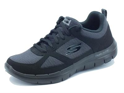 Scarpe sportive Skechers Air-Cooled Memory Foam per uomo in tessuto nero