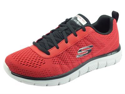 Articolo Sckechers 232081 Track Moulton Red Black Scarpe Sportive per uomo in tessuto rosso con memory