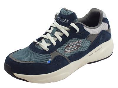 Articolo Skechers Meridian OstWall scarpe sportive uomo in pelle e tessuto blu