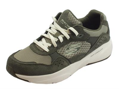 Articolo Skechers Meridian OstWall scarpe sportive uomo in pelle e tessuto verde oliva