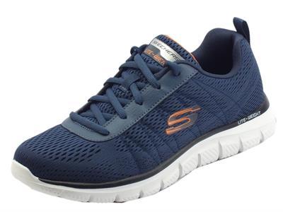 Articolo Skechers Sport 232081 Track Moulton Nvy Orng Scarpe sportive per Uomo in tessuto blu