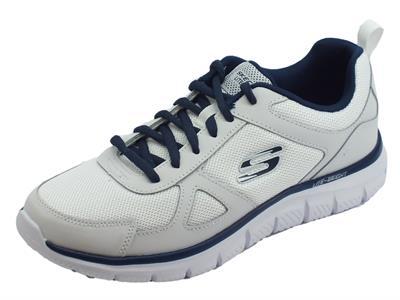 Articolo Skechers Sport Track Scloric scarpe sportive uomo in pelle e tessuto bianco e blu