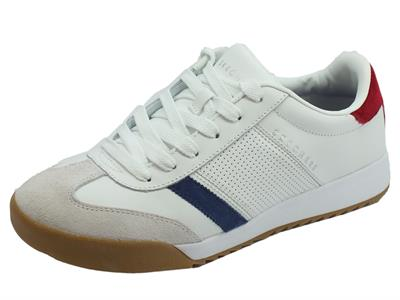Skechers Street Los Angeles 52321WRD Zinger White Red scarpe sportive per uomo in pelle
