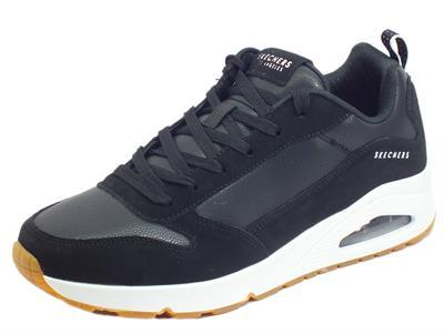 Skechers Street Los Angeles 52468/BKW Uno Stacre Black White Sneakers sportive Uomo pelle e nabuk