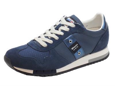 Articolo Sneakers Blauer USA per uomo in camoscio blu tessuto blu