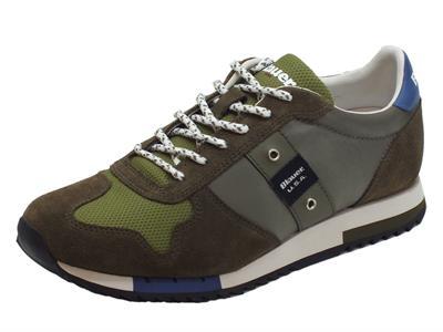 Articolo Sneakers Blauer USA per uomo in camoscio e tessuto verde militare