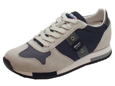 Articolo Sneakers Blauer USA per uomo in camoscio grigio tessuto nero