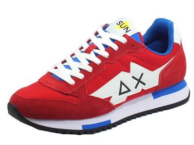 Articolo SUN68 Z31118 Running Adult Niki Solid Rosso Scarpe Sportive per Uomo nabuk tessuto rosso blu