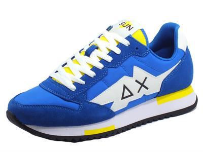 Articolo SUN68 Z31118 Running Adult Niki Solid Royal Scarpe Sportive Uomo nabuk e tessuto blu e giallo
