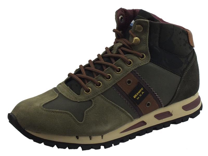Consulta la scheda del prodotto Blauer Mustang02 Military Green scarponcini trekking per uomo in camoscio e tessuto verde