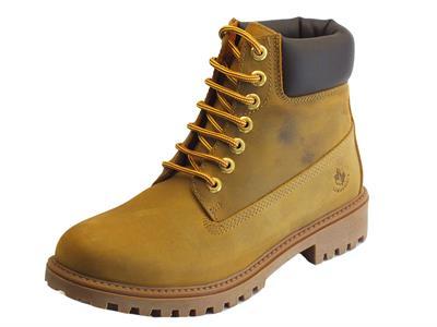 Articolo Lumberjack River Yellow Ingrassato Dk Brown scarponcini per uomo in nabuk