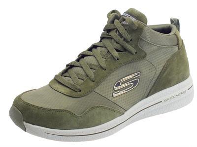 Skechers scarponcini per uomo in camoscio e tessuto colore verde con lacci
