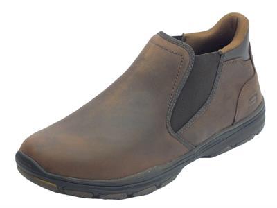 Skechers scarponcini per uomo in nabuk ingrassato marrone senza lacci