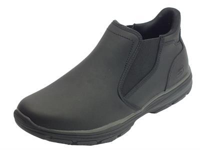 Articolo Skechers scarponcini per uomo in pelle nero senza lacci