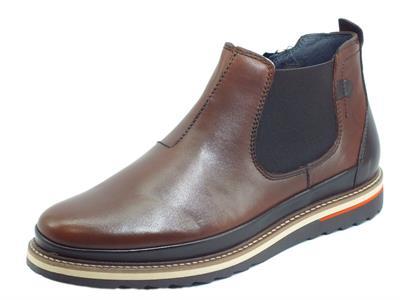 Zen 178392 Turia Cuoio Scarponcini per uomo modello Beatles pelle bicolore marrone con lampo