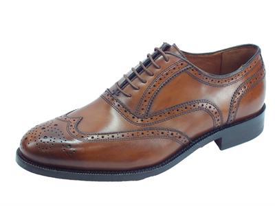 Articolo Mercanti Fiorentini Pegaso CA-21 cognac scarpe in pelle con lavorazione duilio fondo cuoio
