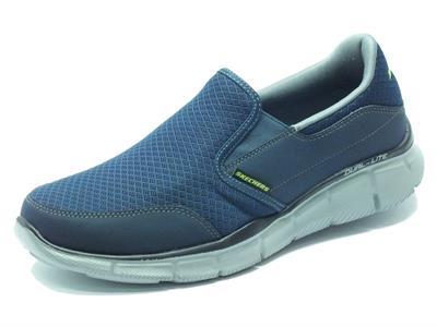 Articolo Mocassini Skechers Sport per uomo in tessuto Blu con memory foam