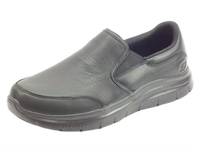 Skechers Work 77071EC/BLK Flex Advantage Black mocassini Uomo in pelle fondo antiscivolo