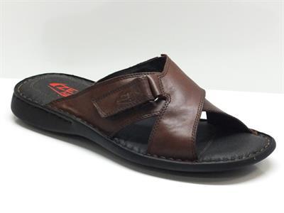 Sandali per uomo Zen Age in pelle marrone con chiusura in velcro
