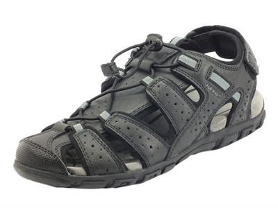 Articolo Geox U6224B Strada Black Sandali per uomo in pelle regolazione lacci e stretch