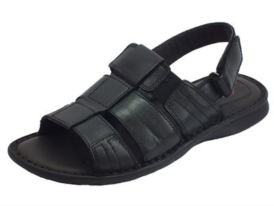 Sandali aperti in pelle Zen per uomo nero chiusura a strappo