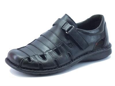 Sandalo Zen Age per uomo in vera pelle nera con velcro regolabile