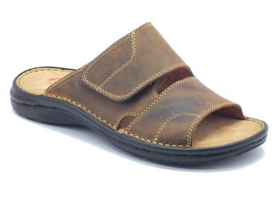 Sandalo Zen per uomo in pelle marrone con velcro