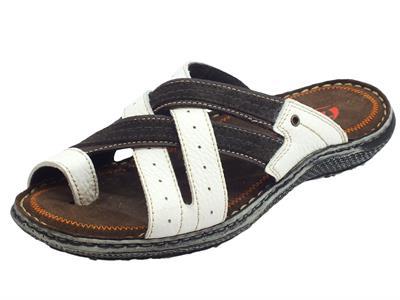 Articolo Zen sandali infra-alluce per uomo in nabuk bianco e testa di moro
