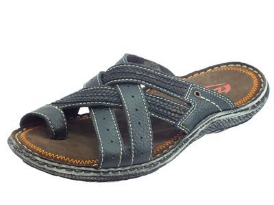 Zen sandali infra-alluce per uomo in nabuk nero e grigio