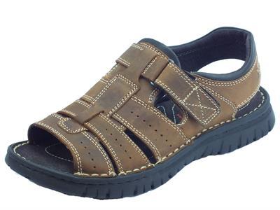 Zen sandali per uomo in nabuk marrone bruciato regolazione a strappo