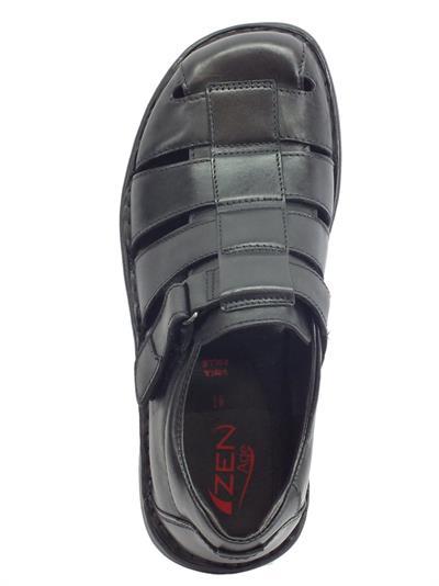 Dettagli su Zen sandali semichiusi per uomo in pelle nera regolazione a strappo