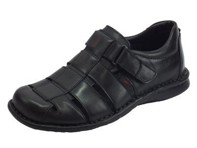 Articolo Zen sandali semichiusi per uomo in pelle nera regolazione a strappo