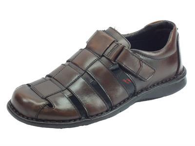 Zen sandali semichiusi per uomo in pelle testa di moro regolazione a strappo
