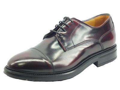 Articolo Mercanti Fiorentini 07724 Abrasivato bordò Scarpe Eleganti Classiche Uomo pelle spazzolate nero