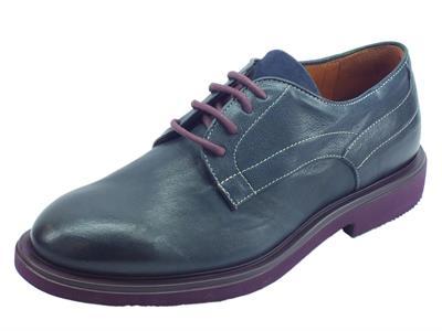 Mercanti Fiorentini Rex Navy Kaleido Blu scarpe eleganti per uomo in pelle blu