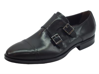 Articolo NeroGiardini A901103UE Golf Nero scarpe eleganti con fibia per uomo in pelle nera