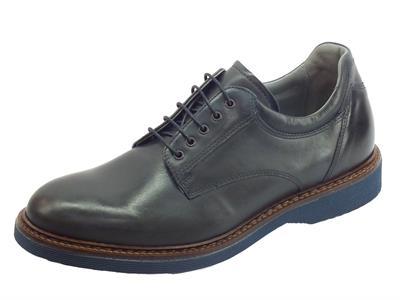 NeroGiardini A901170U Neopolis Blu scarpe eleganti stringate per uomo in pelle blu spazzolato
