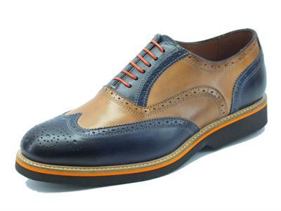 Scarpe artigianali made in Italy per uomo in vera pelle blu notte e cuoio