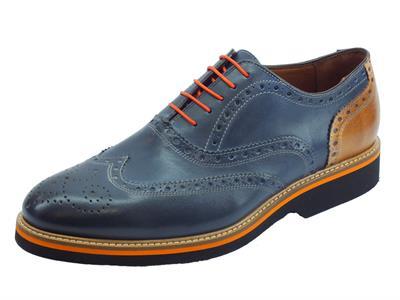 Scarpe eleganti per uomo Mercanti Fiorentini in pelle blu e marrone